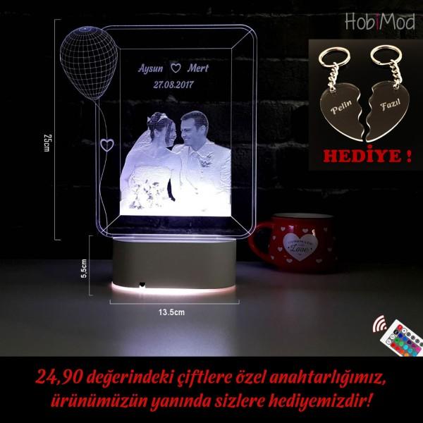 HobiMod 3d 3 Boyutlu Led Masa Gece Lambası Kişiye Özel Resimli Fotoğraflı Balonlu - hm3dr015