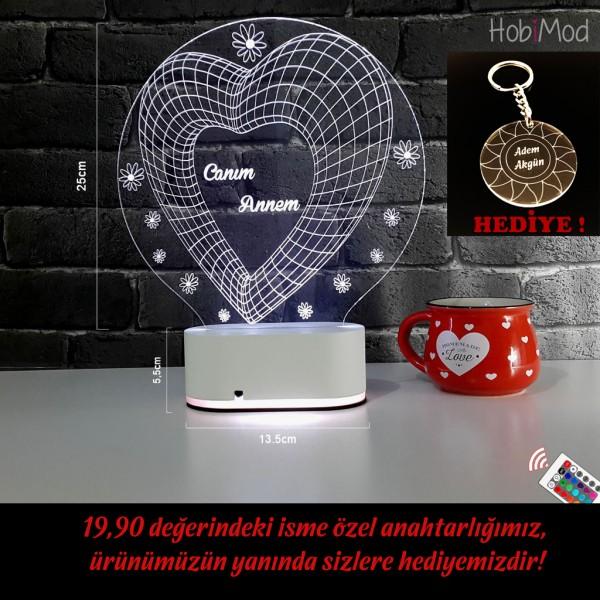 HobiMod 3d 3 Boyutlu Led Masa Gece Lambası Papatya Kalp - hm3dr009