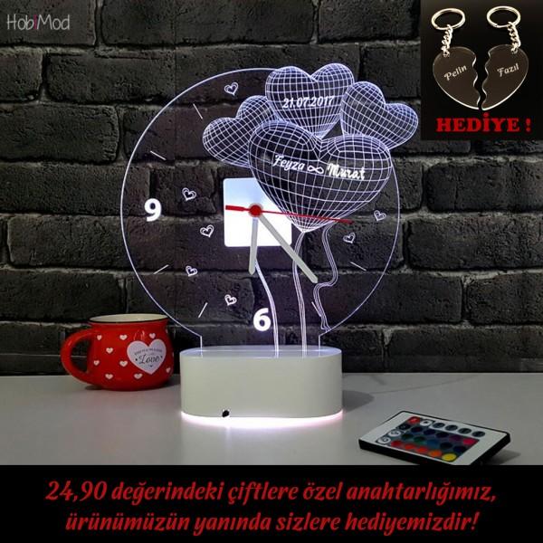 HobiMod Saatli Lamba 3d 3 Boyutlu Kişiye Özel 4 Kalp Yıldönümü - hmst006