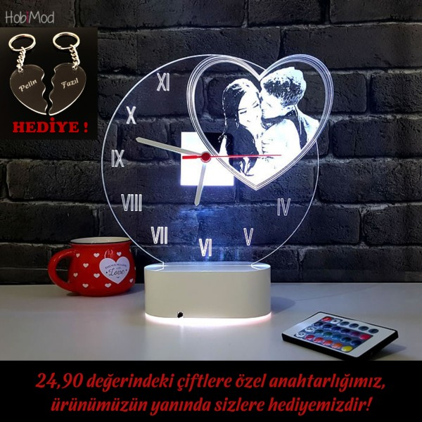 HobiMod Saatli Lamba 3d 3 Boyutlu Kişiye Özel Resimli Kalp - hmst015